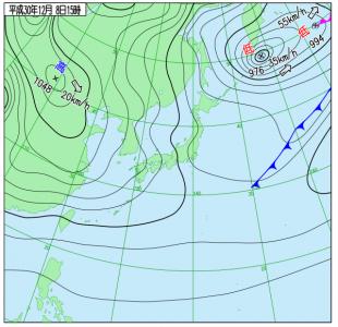 12月8日(土)15時の実況天気図