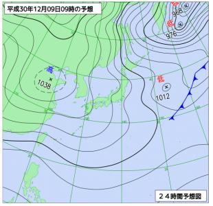 12月9日(日)9時の予想天気図