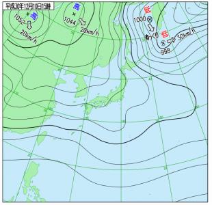 12月10日(月)15時の実況天気図
