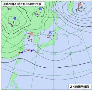 12月11日(火)9時の予想天気図