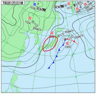 12月12日(水)15時の実況天気図