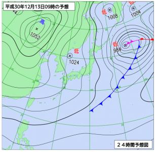 12月13日(木)9時の予想天気図