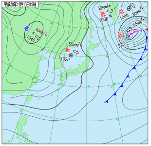 12月13日(木)15時の実況天気図