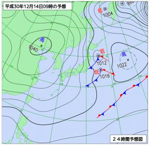12月14日(金)9時の予想天気図