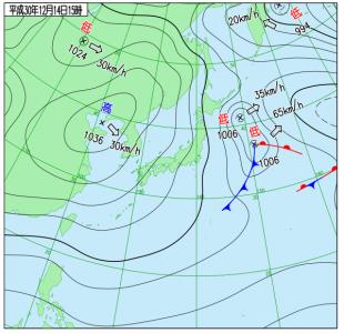 12月14日(金)15時の実況天気図