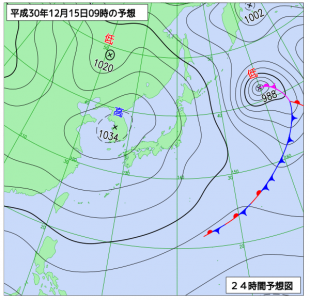 12月15日(土)9時の予想天気図