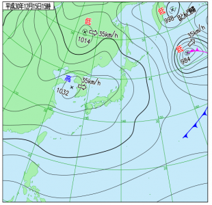 12月15日(土)15時の実況天気図