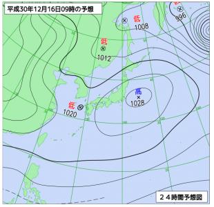 12月16日(日)9時の予想天気図