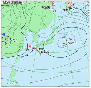 12月16日(日)15時の実況天気図
