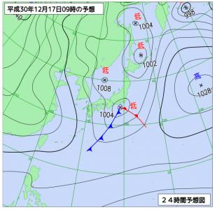 12月17日(月)9時の予想天気図