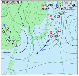 12月17日(月)15時の実況天気図