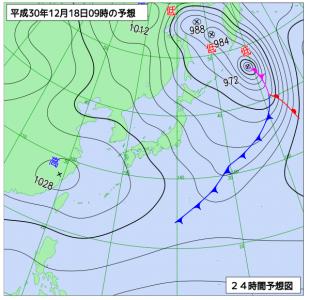 12月18日(火)9時の予想天気図