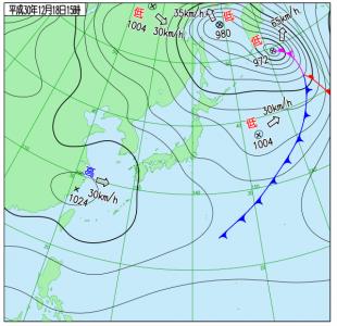 12月18日(火)15時の実況天気図
