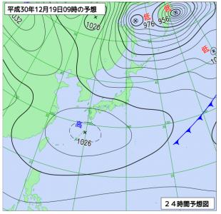 12月19日(水)9時の予想天気図