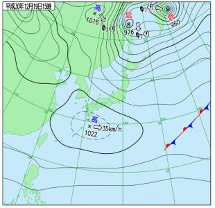 12月19日(水)15時の実況天気図
