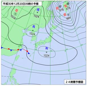 12月20日(木)9時の予想天気図