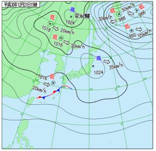12月21日(金)15時の実況天気図