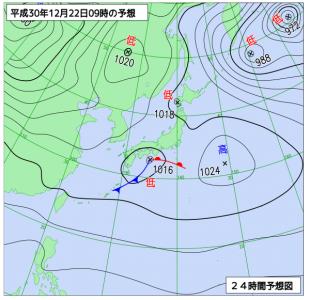 12月22日(土)9時の予想天気図