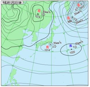 12月22日(土)15時の実況天気図