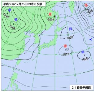 12月23日(日)9時の予想天気図