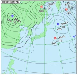 12月23日(日祝)15時の実況天気図