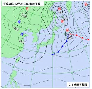 12月24日(月振)9時の予想天気図