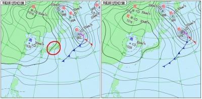 12月24日(月振)12時と15時の実況天気図
