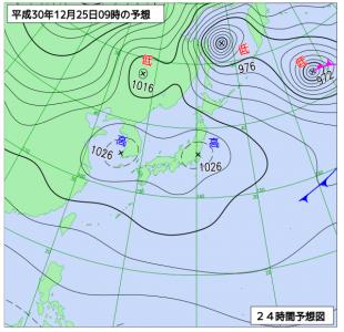 12月25日(火)9時の予想天気図