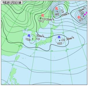 12月25日(火)15時の実況天気図