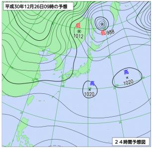 12月26日(水)9時の予想天気図