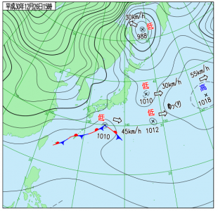 12月26日(水)15時の実況天気図