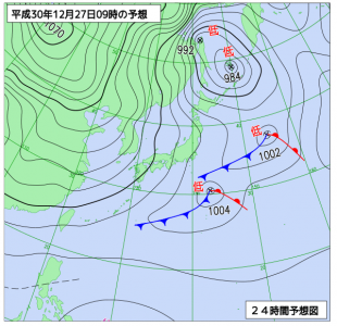 12月27日(木)9時の予想天気図