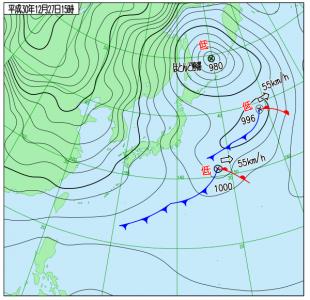 12月27日(木)15時の実況天気図