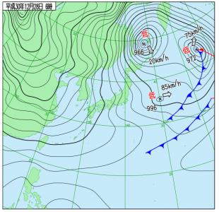 12月28日(金)3時の実況天気図