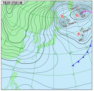 12月28日(金)15時の実況天気図