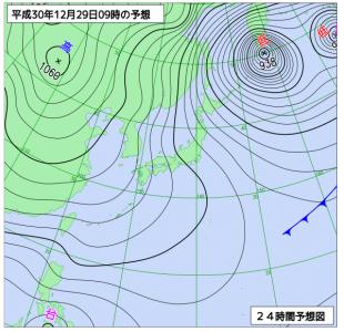 12月29日(土)9時の予想天気図