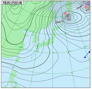 12月29日(土)15時の実況天気図
