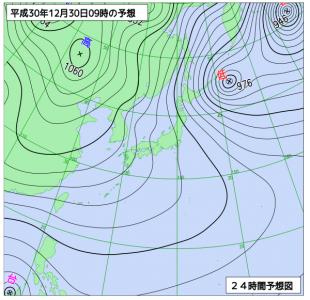 12月30日(日)9時の予想天気図