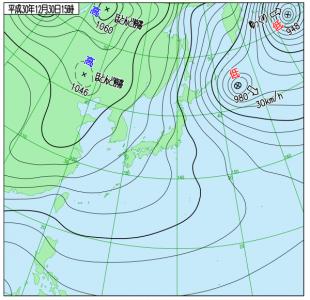 12月30日(日)15時の実況天気図