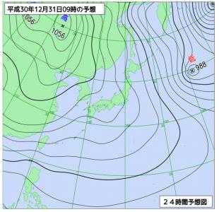 12月31日(月)9時の予想天気図