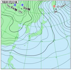 12月31日(月)15時の実況天気図