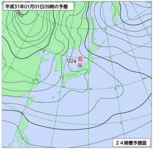 1月1日(火祝)9時の予想天気図