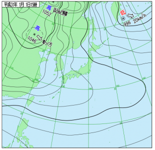 1月1日(火祝)15時の実況天気図