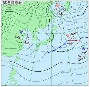 1月2日(水)15時の実況天気図