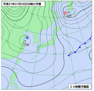 1月3日(木)9時の予想天気図