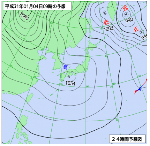 1月4日(金)9時の予想天気図