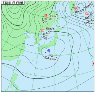 1月4日(金)15時の実況天気図