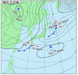 1月5日(土)15時の実況天気図