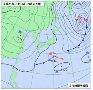 1月6日(日)9時の予想天気図