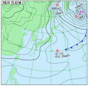 1月6日(日)15時の実況天気図